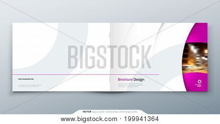 Landscape Brochure design. Pink magenta fashion beauty rectangle template brochure, report, catalog, magazine. Brochure layout modern circle shape abstract background. Creative brochure vector concept