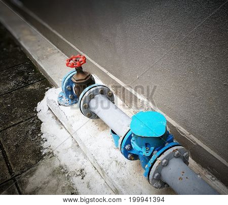 Outdoor main water shut-off system, compose of blue water meter with cover (close), brass plumbing gate valve with red hand wheel, and grey metal pipes; installed on floor beside concrete wall.