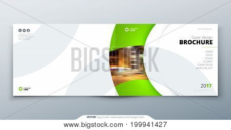 Landscape Brochure design. Green corporate business rectangle template brochure, report, catalog, magazine. Brochure layout modern circle shape abstract background. Creative brochure vector concept