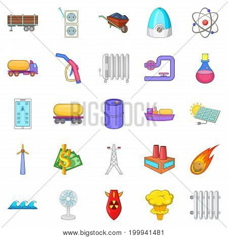 Oil icons set. Cartoon set of 25 oil vector icons for web isolated on white background