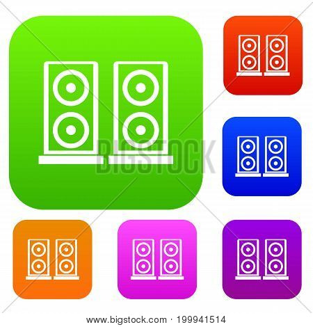Music speakers set icon in different colors isolated vector illustration. Premium collection