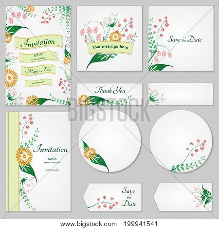 Collection Greeting Cards With Stylized Wild Flowers, Can Be Used As Invitation Card For Wedding, Bi