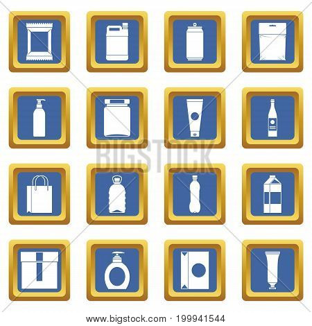 Packaging items icons set in blue color isolated vector illustration for web and any design