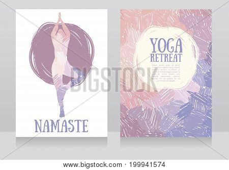 two cards for yoga retreat or yoga studio, tender colors, vector illustration