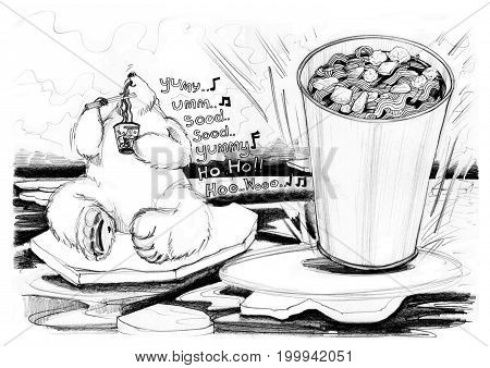 Cola bear cartoon enjoy eating the noodle cup He very happy and hum the melody music is yummy Cute cartoon acting character design hand drawn.