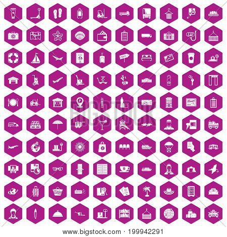 100 luggage icons set in violet hexagon isolated vector illustration