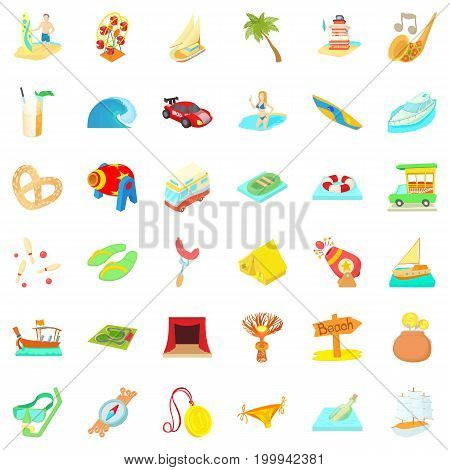 Time of adventure icons set. Cartoon style of 36 time of adventure vector icons for web isolated on white background