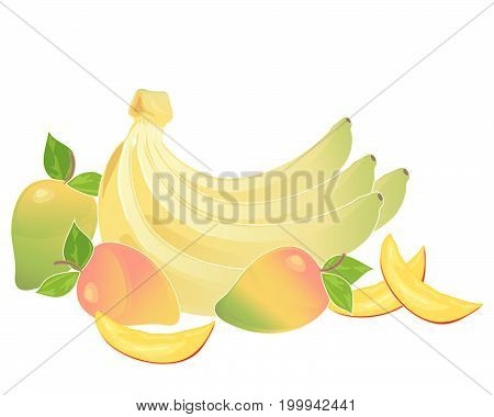 an illustration of a bunch of yellow bananas and some mango fruits with slices on a white background