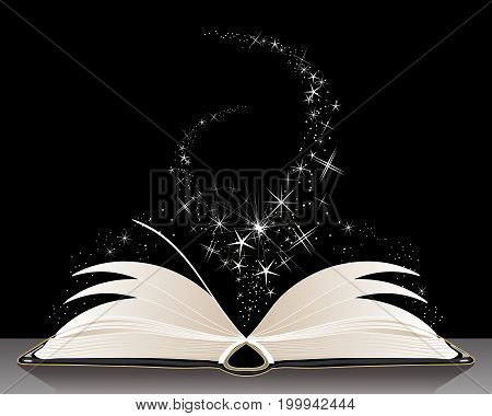 an illustration of a book of magic spells with white sparkles on a black background