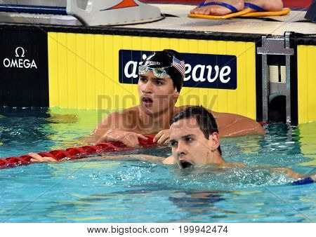 Hong Kong China - Oct 30 2016. BEACH Clark Gregory (USA) and australian olympian world champion and record holder Mitch LARKIN (AUS) after the Men's Backstroke 200m Final. FINA Swimming World Cup.
