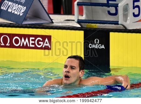 Hong Kong China - Oct 30 2016. Australian olympian world champion and record holder Mitch LARKIN (AUS) after the Men's Backstroke 200m Final. FINA Swimming World Cup Victoria Park Swimming Pool.