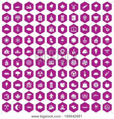 100 lumberjack icons set in violet hexagon isolated vector illustration