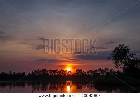 Morning sunrise in the countryside of Thailand. Landscape background.