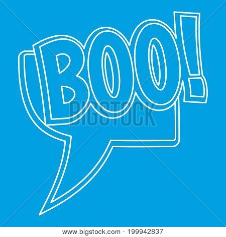 BOO, comic text sound effect icon blue outline style isolated vector illustration. Thin line sign