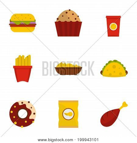 Fast food icon set. Flat style set of 9 fast food vector icons for web isolated on white background