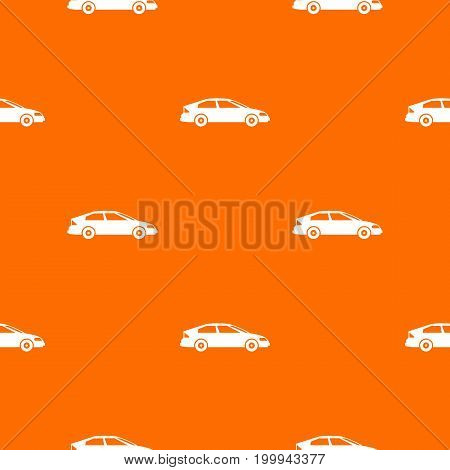 Car pattern repeat seamless in orange color for any design. Vector geometric illustration
