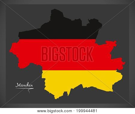 Munich map with German national flag illustration