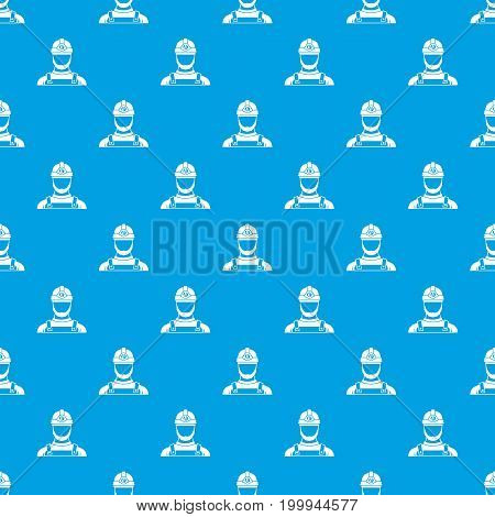 Male miner pattern repeat seamless in blue color for any design. Vector geometric illustration