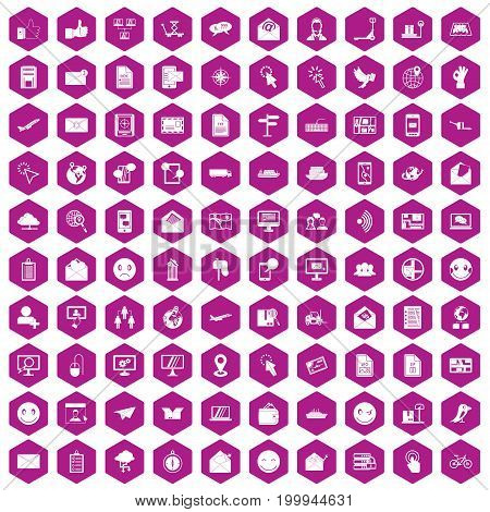 100 mail icons set in violet hexagon isolated vector illustration