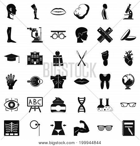 Human anatomy icons set. Simple style of 36 human anatomy vector icons for web isolated on white background