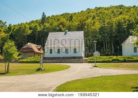 Nikola Tesla birth house and memorial center in the village of Smiljan, Lika, Croatia