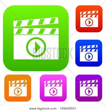 Clapperboard for movie shooting set icon in different colors isolated vector illustration. Premium collection