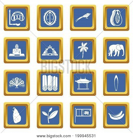 Sri Lanka travel icons set in blue color isolated vector illustration for web and any design