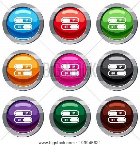 Button on and off set icon isolated on white. 9 icon collection vector illustration