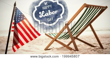 Digital composite image of happy labor day text with tools on blue poster against beach chairs on tropical sand beach