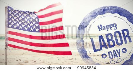 Composite image of happy labor day text on blue poster against scenic view of waves on seashore