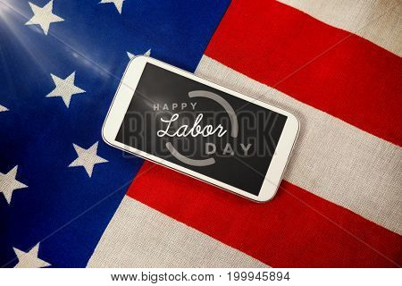 Flare against cellphone on american flag