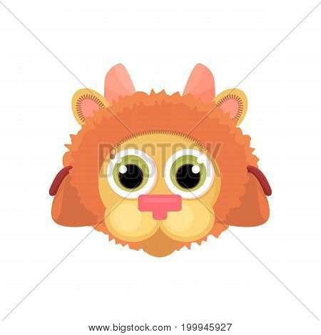 Children's school bag on the straps completely stylized as a cartoon lion face. Isolated object. Vector illustration cartoon style back to school.