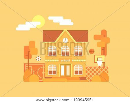 Flat composition of the school and its backyard: a football field and a basketball court with a ball. It's time for autumn. Yellowed bushes and trees. Vector illustration.