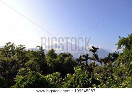 Lush Forest And Mountains With The Color Gradation Of The Sky