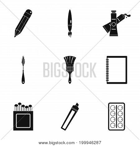 Designer workspace icons set. Simple set of 9 designer workspace vector icons for web isolated on white background