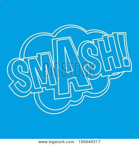 Smash, comic text sound effect icon blue outline style isolated vector illustration. Thin line sign