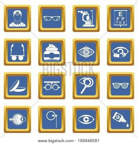 Ophthalmologist tools icons set in blue color isolated vector illustration for web and any design