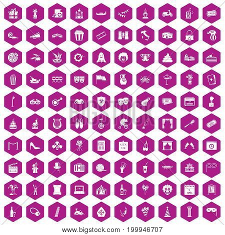 100 mask icons set in violet hexagon isolated vector illustration