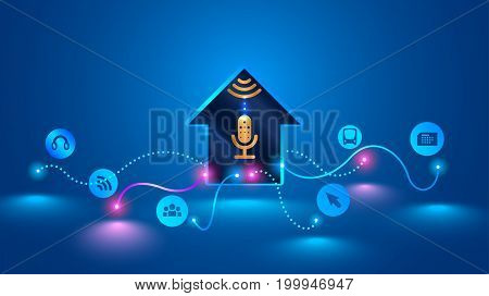 smart home recognizes voice commands and manages smart devices. Voice control of your smart home. Smart speaker controls the Internet of things in your house. Future concept VECTOR