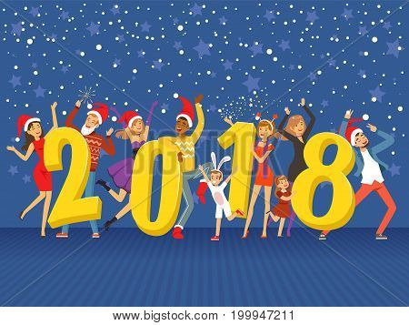 Happy New Year 2018, party people celebrating colorful vector Illustration on a blue background with shining stars