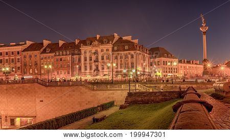 Warsaw, Poland:  the old town, Krakowskie Predmiescie, the most prestigious street of Polish capital city at night