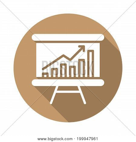 Whiteboard with growing chart flat icon. Round colorful button, Data Analytics circular vector sign with long shadow effect. Flat style design