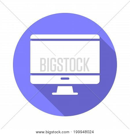 Desktop computer, monitor flat icon. Round colorful button, circular vector sign with long shadow effect. Flat style design