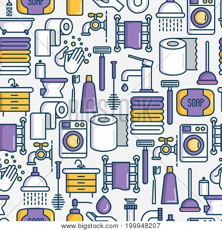 Bathroom equipment seamless pattern with thin line icons. Hygiene, purity, beauty, plumber related icons. Vector illustration for banner, web page, print media.