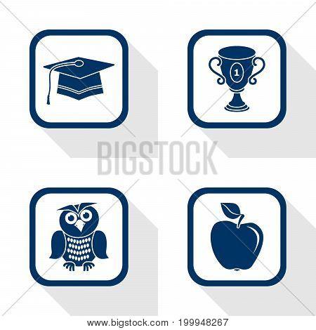 flat design icons education set - graduation cup apple owl