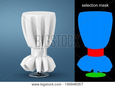 Beautiful high round tables decorated with white tablecloth and tape for event or sampling mockup with selection mask