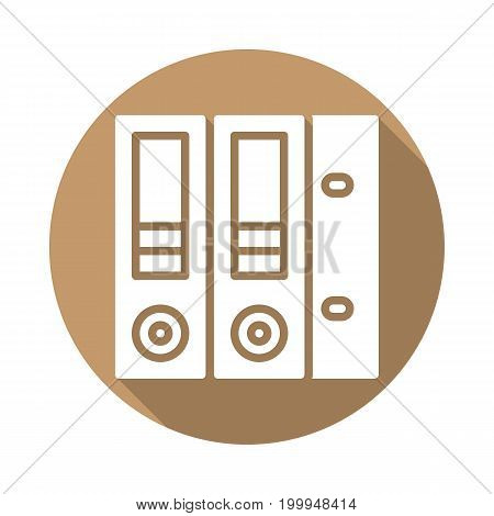 Ring binder folders flat icon. Round colorful button, circular vector sign with long shadow effect. Flat style design