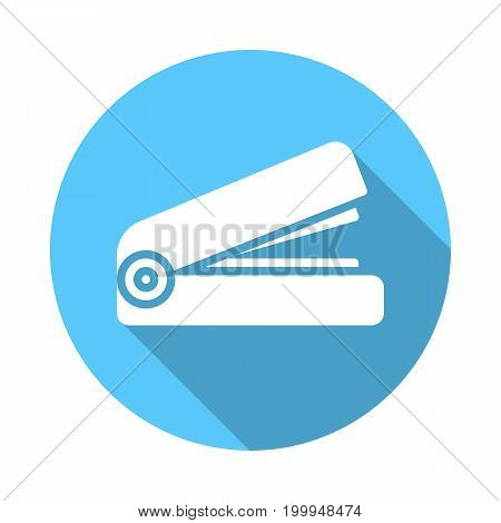 Stapler flat icon. Round colorful button, Stationery circular vector sign with long shadow effect. Flat style design