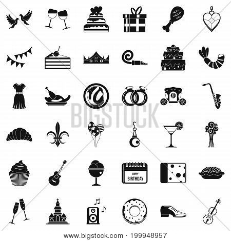 Birthday banquet icons set. Simple style of 36 birthday banquet vector icons for web isolated on white background