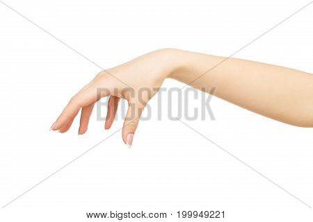 Woman's hand making gesture while grab some items isolated on white background, close-up, cutout, copy space